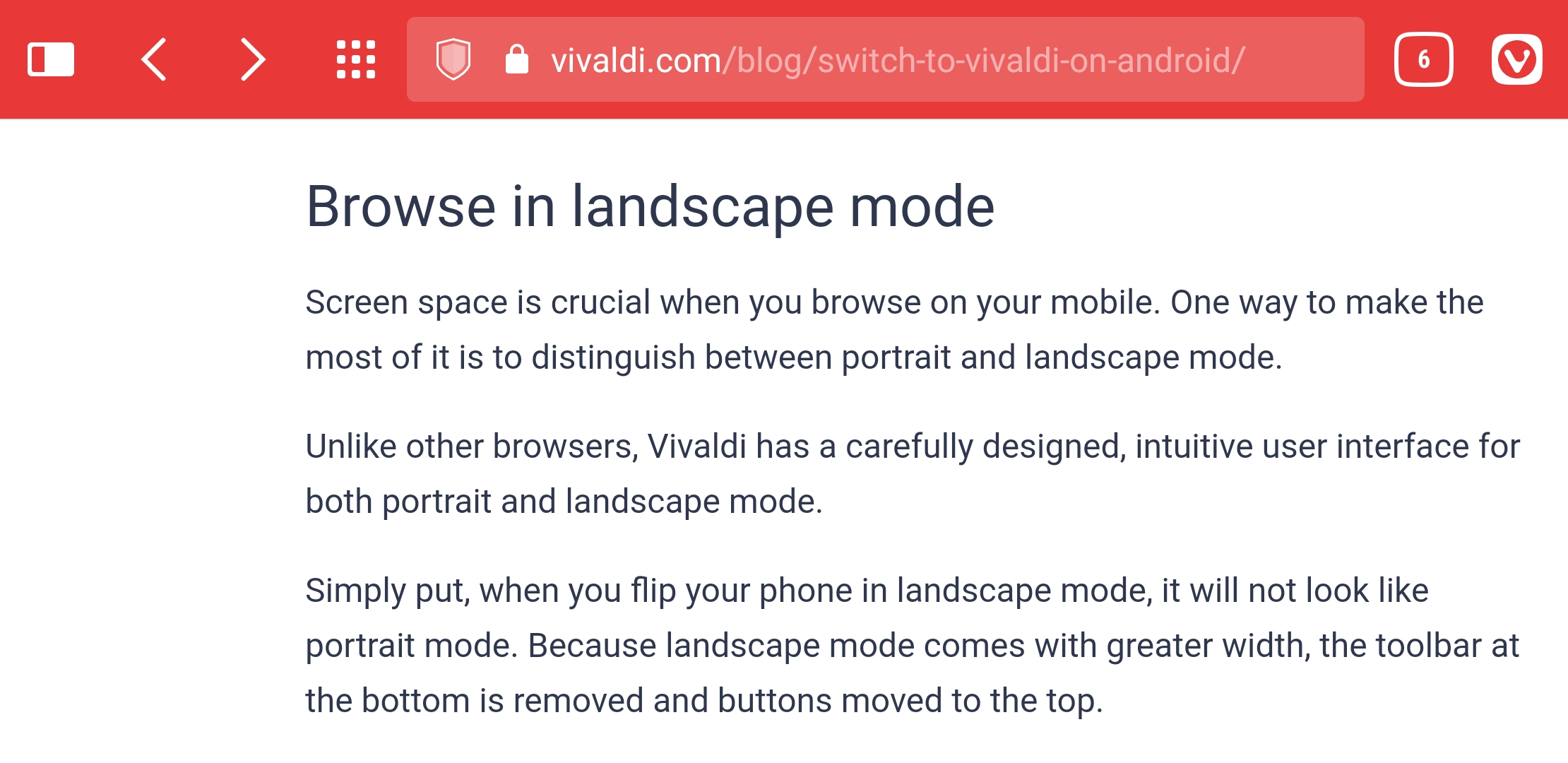 Vivaldi Android in landscape mode with all toolbar buttons on top