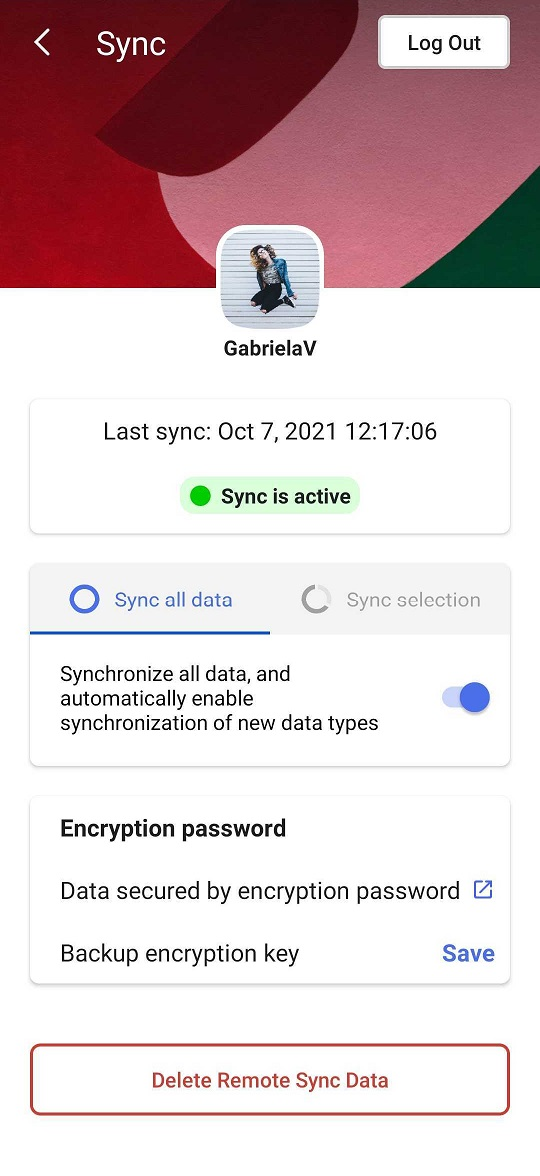 Sync settings page on Android