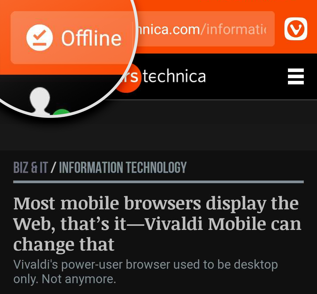 Offline icon on the Address Bar of a downloaded page