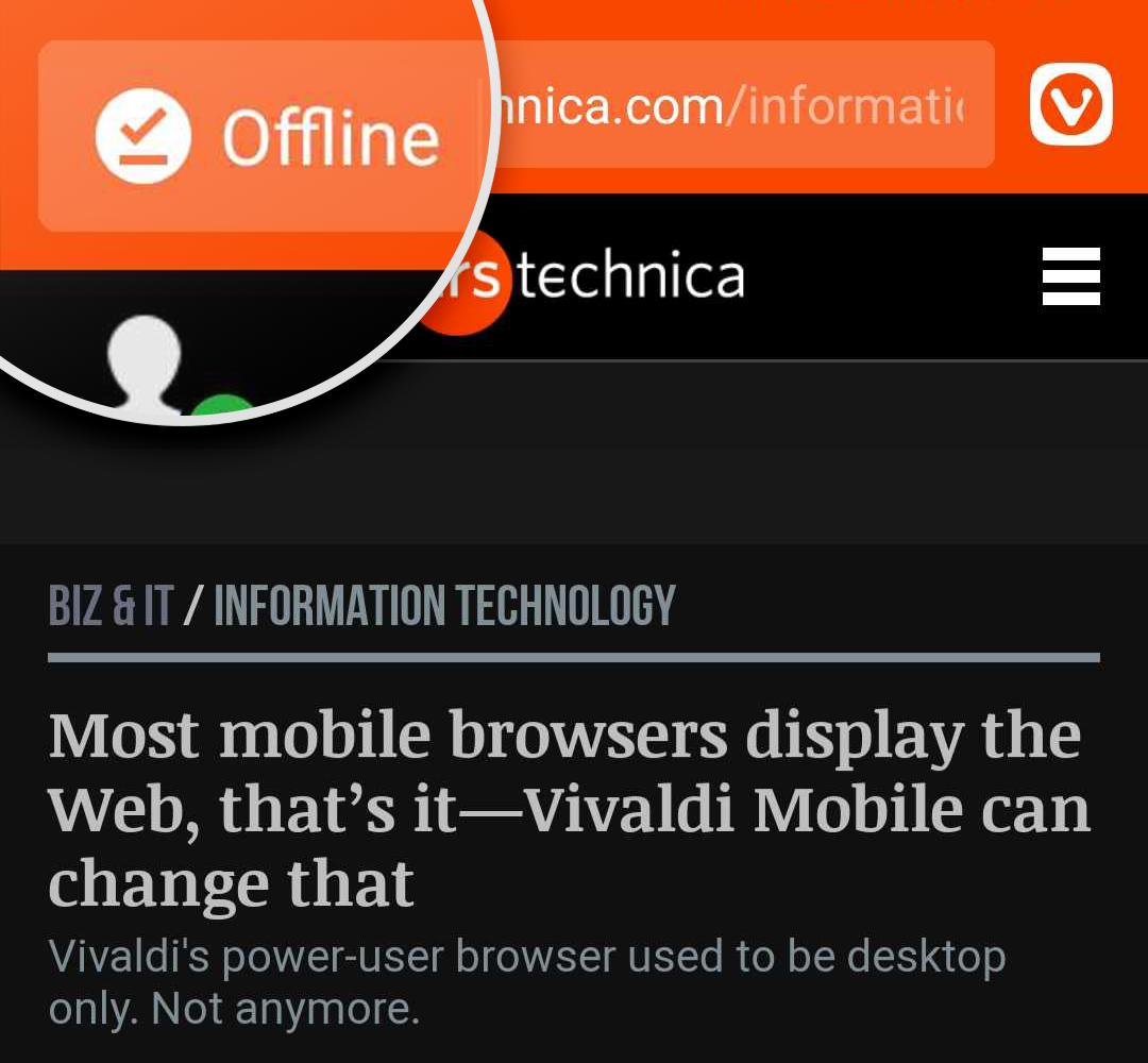 Icono sin conexión en la barra de direcciones de una página descargada