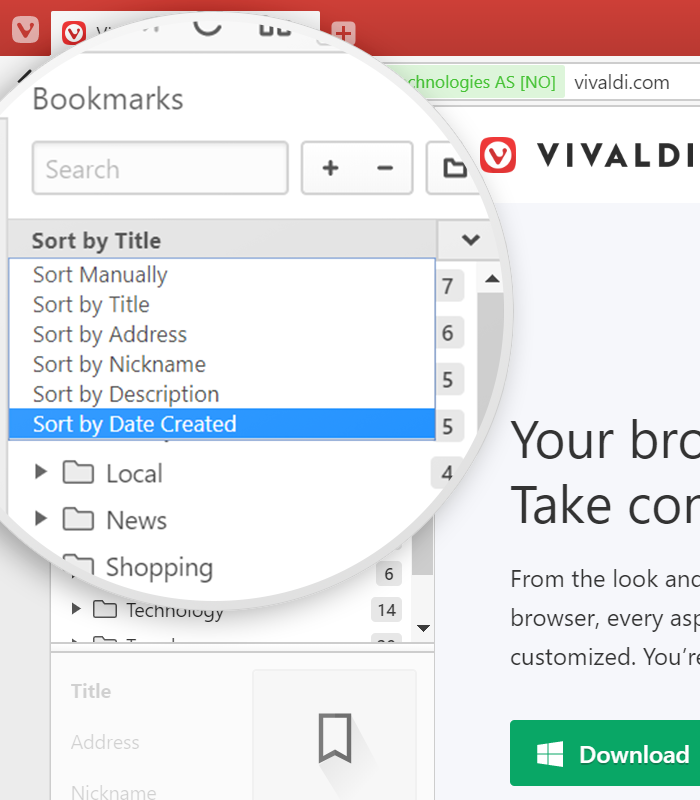 Sort menu in the bookmarks panel