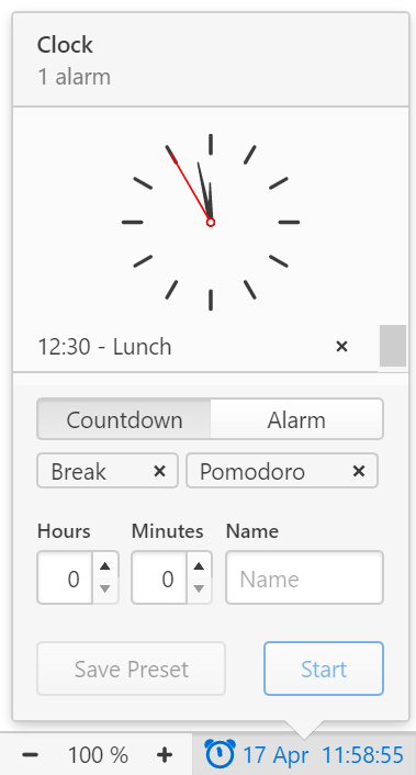 Status Bar Clock's open menu