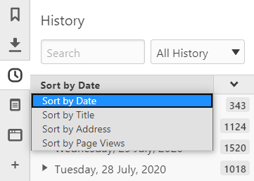 History Panel with the sorting menu open
