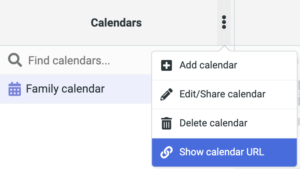 Screenshot showing where to find the URL link to add your Vivaldi calendar to any clients.