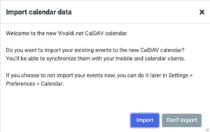 screenshot of Vivaldi's webmail import calendar data to synchronize them with your mobile and other calendar clients