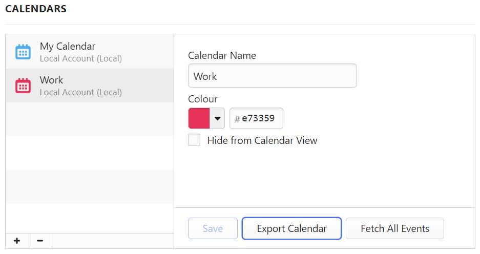 Exporting a calendar in Calendar Settings
