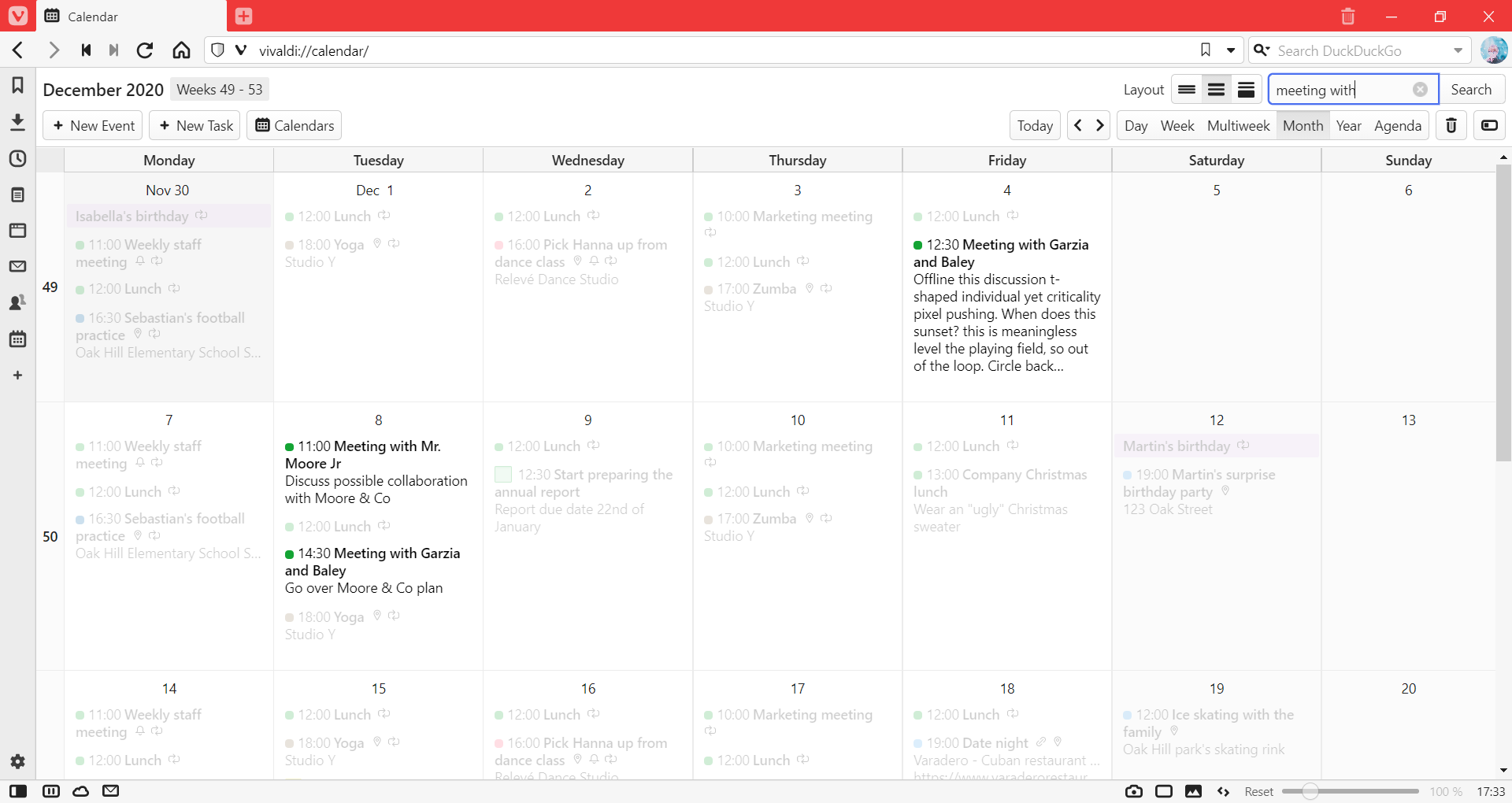 Calendar with filtered events highlighted