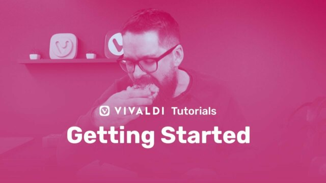"Illustration with pink background and Vivaldi colleague eating a donut and ""Getting Started"" Title as overlay"