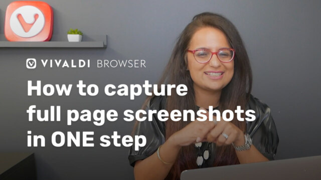 "Picture of Vivaldi colleague with following title as overlay: ""How to capture full page screenshots in ONE step"""