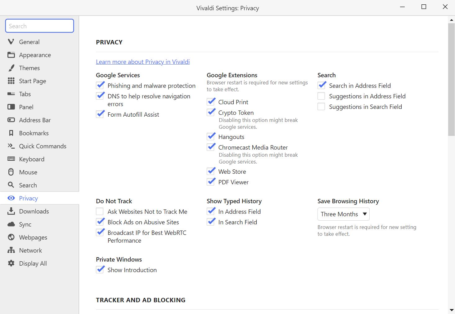 Vivaldi's Privacy settings window